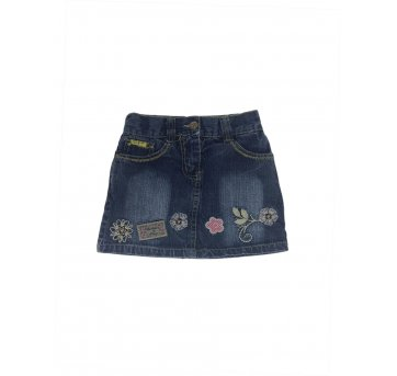 Saia Jeans Com Bordados - Golden