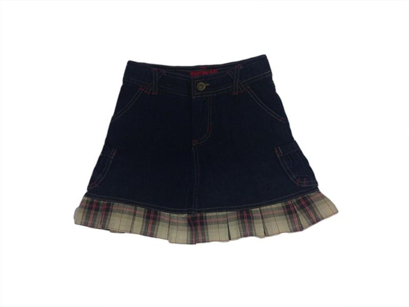c1c3e0378 Spila Store - Saia Jeans Babado Xadrez - MarKids Collection no ...