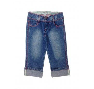 Calça Jeans Curta Detalhes em Vermelho