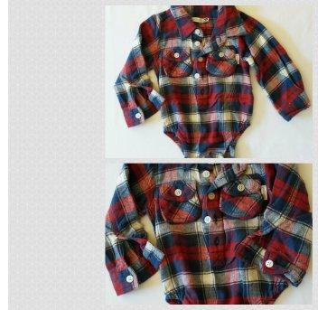 Body camisa xadrez de flanela Babysol (Marisol) tam MB 6-9 meses