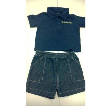 Conjunto Blusa Polo   bermuda Jeans Calvin Klein