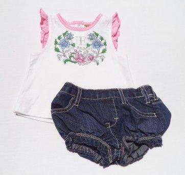 Conjunto Regatinha+ Shortinhos Jeans GUESS 0/3 Meses