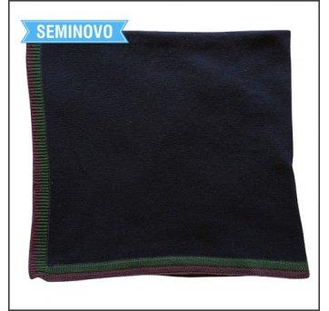 Manta de tricô em lã azul marinho