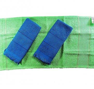 Toalhinha De Rosto Para Bordar Verde E Azul 3 Pçs