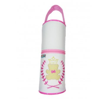Porta Mamadeira Térmico Isopor Ursinho Branco Rosa Mappyng