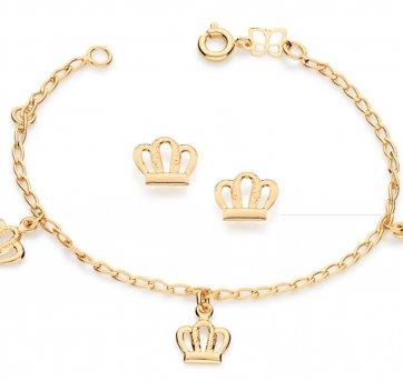 Brinco Pulseira Infantil Coroa Rommanel 524948 E 551181