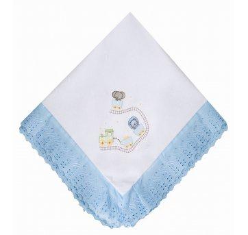 Manta Piquet Bordada Trezinho Bichinhos Azul Papi 4321