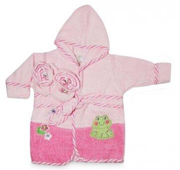 Roupão Atoalhado Bebê Pantufa Rosa  0-9 meses Camesa