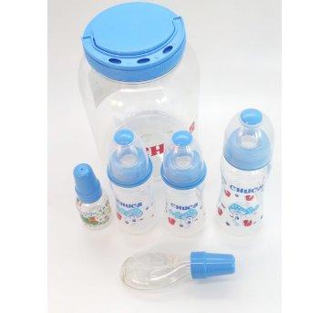 5 Mamadeiras 50 150 e 250 ml e Pote Azul Chuca 6023