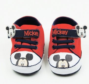 Sapatinho Para Bebê Antiderrapante Mickey Vermelho .