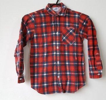 Camisa Xadrez Manga Longa Vermelha .