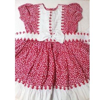 Vestido rodado vermelho floral