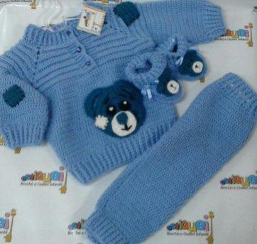 Conjunto lã feito a mão