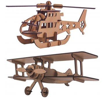 Quebra-cabeça MDF 3D Helicóptero E Avião Pasiani