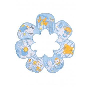 7 Babadores Semaninha Bichinho Plastificado Azul Papi 932