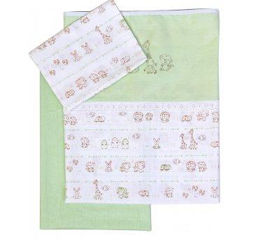 Jogo Lençol Para Carrinho Bebê Bordado Zoo Verde Papi 2170