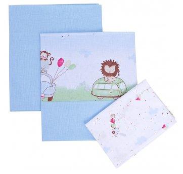 Jogo Lençol Para Carrinho Bebê Bichinhos Azul Papi 2260