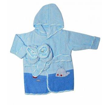Roupão Atoalhado Bebê Pantufa Azul 0-9 meses Camesa