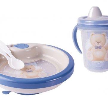 Copo E Prato Térmico Ventosa 2 Colheres Urso Azul Plasutil 8445-8451