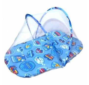 Colchonete Cama Berço Cercadinho Tenda Mosquiteiro Portátil Azul Pais