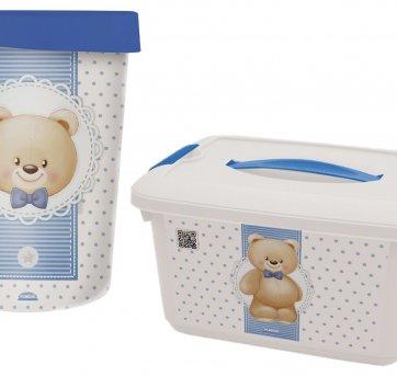 Caixa Organizadora E Lixeira Com Tampa Urso Azul Plasutil
