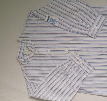 Camisa Social - listras azul - 1 ano